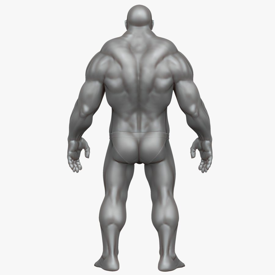Muscular Man 3 Zbrush Sculpt royalty-free 3d model - Preview no. 11