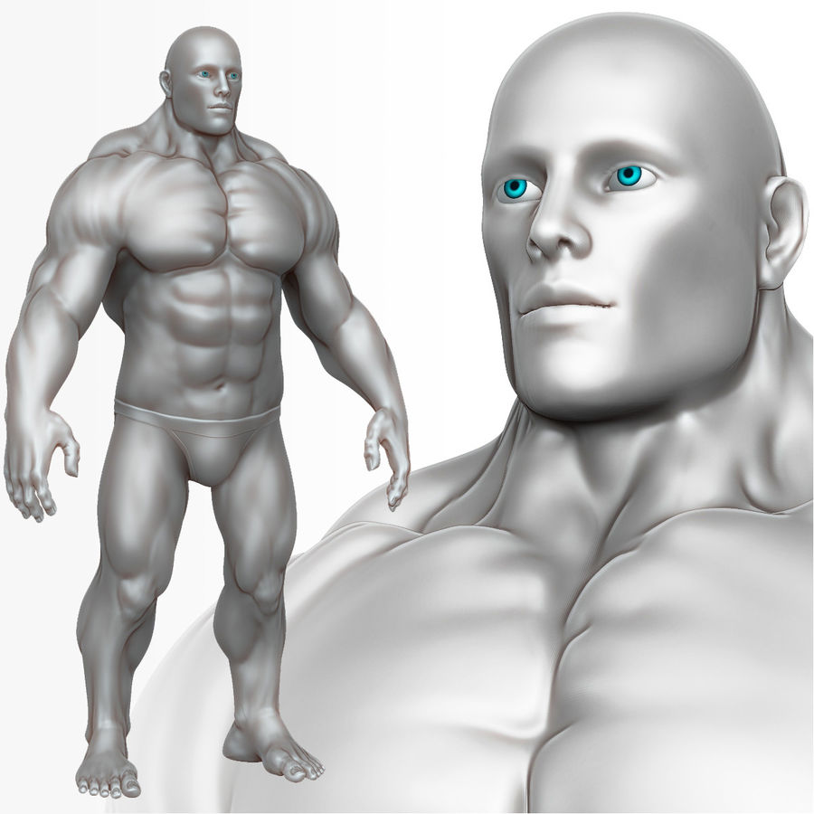 Muscular Man 3 Zbrush Sculpt royalty-free 3d model - Preview no. 1