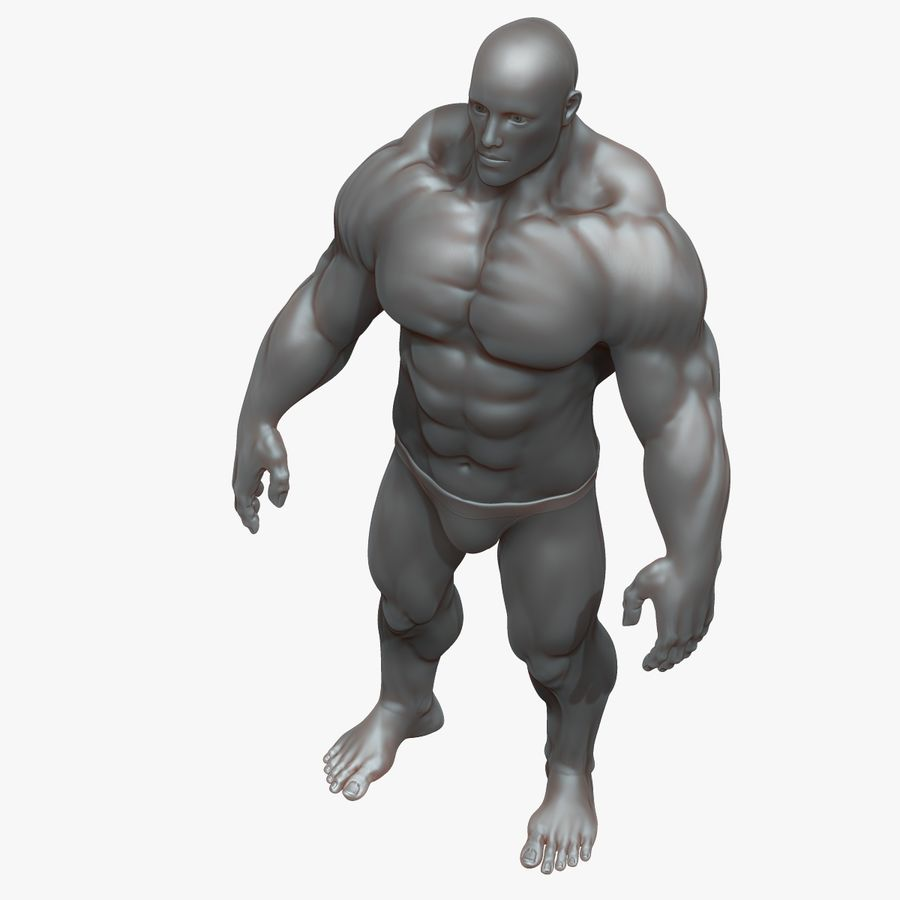 Muscular Man 3 Zbrush Sculpt royalty-free 3d model - Preview no. 2