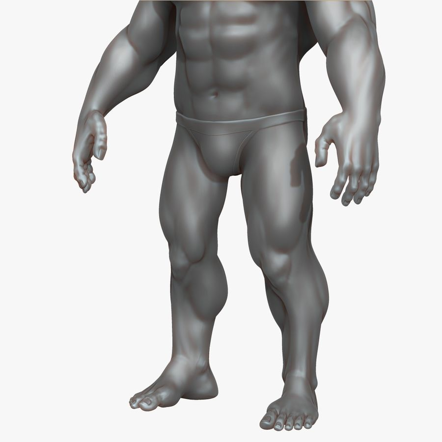 Muscular Man 3 Zbrush Sculpt royalty-free 3d model - Preview no. 6