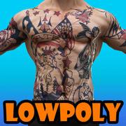 quadrinhos tatuados super-herói 3d model