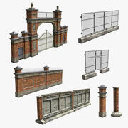 Industiral Fence Set 3d model