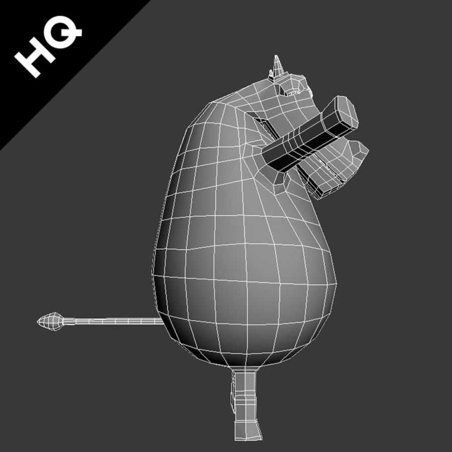 COW CARTOON royalty-free 3d model - Preview no. 10