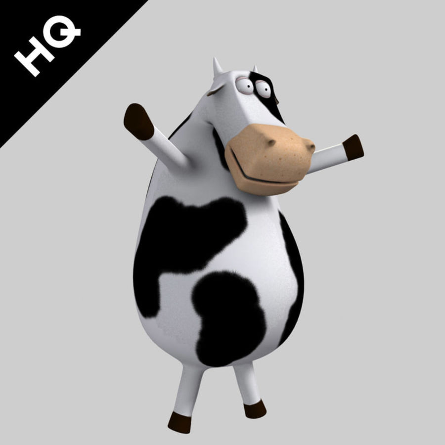 COW CARTOON royalty-free 3d model - Preview no. 6
