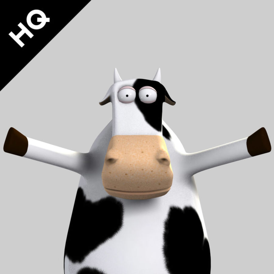 COW CARTOON royalty-free 3d model - Preview no. 1