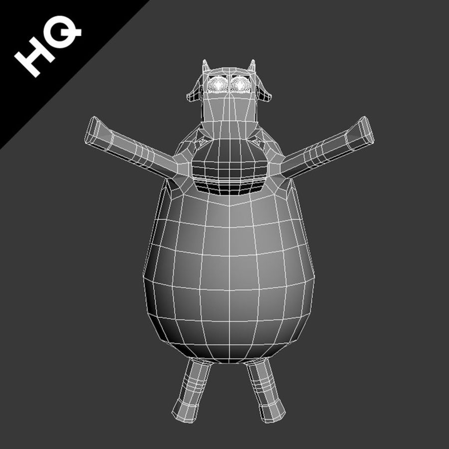 COW CARTOON royalty-free 3d model - Preview no. 8