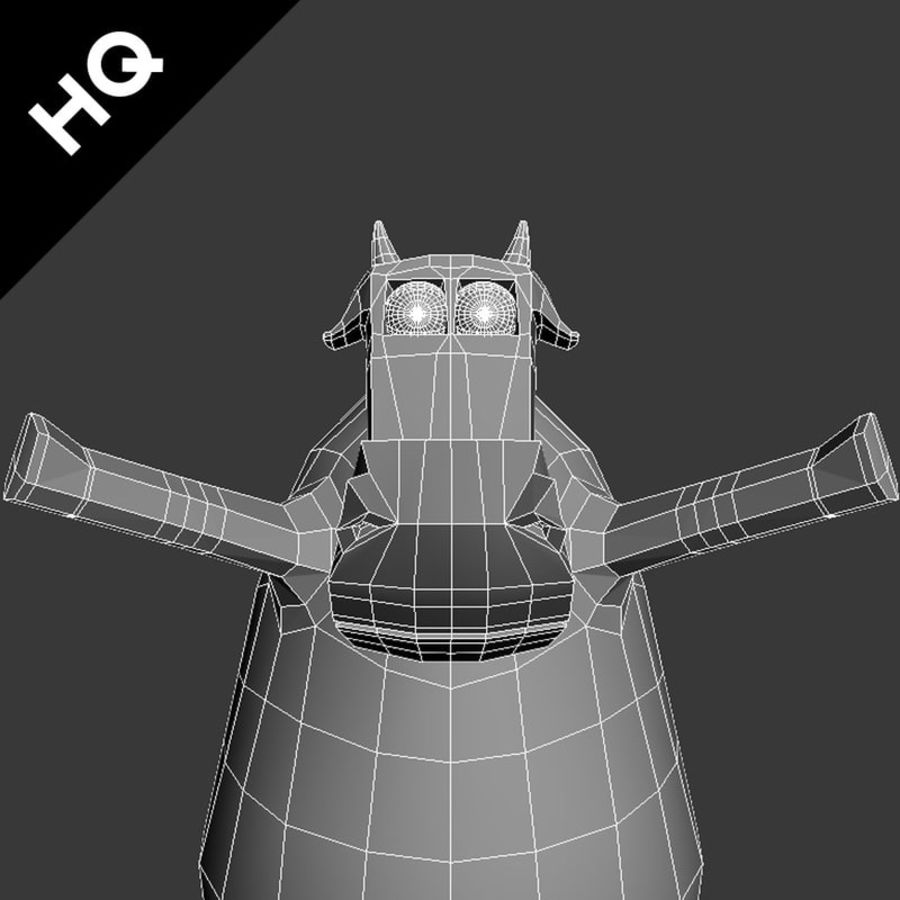 COW CARTOON royalty-free 3d model - Preview no. 7