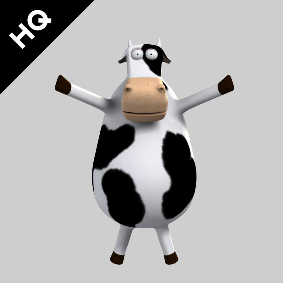 COW CARTOON royalty-free 3d model - Preview no. 2