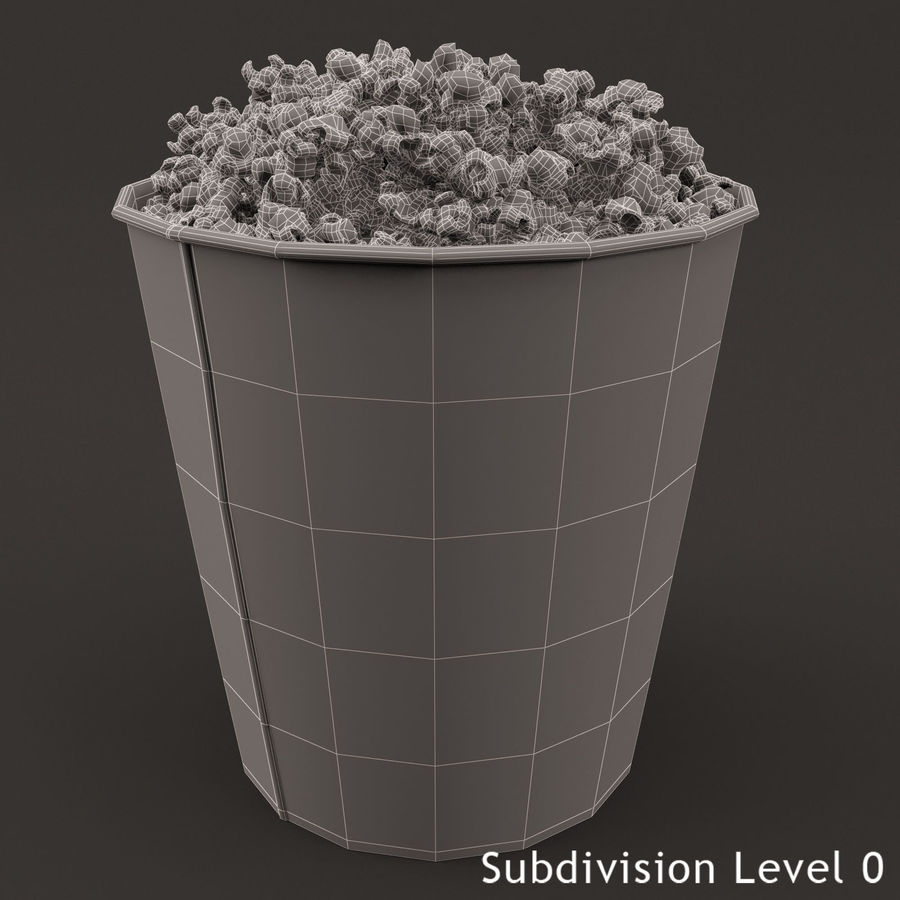 Popcorn Bucket 3,7L royalty-free 3d model - Preview no. 4