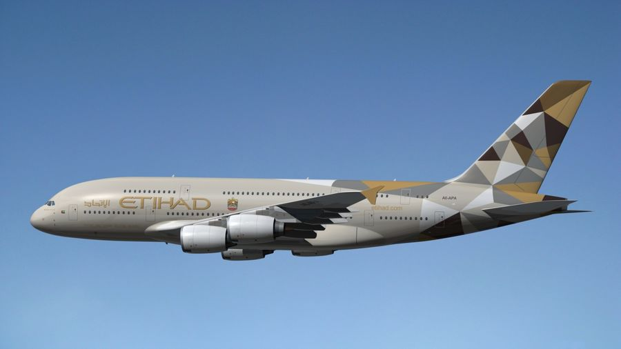 Airbus A380 Etihad royalty-free 3d model - Preview no. 12