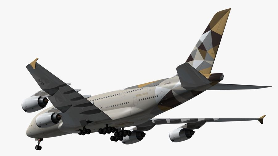 Airbus A380 Etihad royalty-free 3d model - Preview no. 7