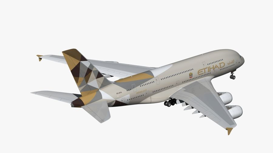 Airbus A380 Etihad royalty-free 3d model - Preview no. 5