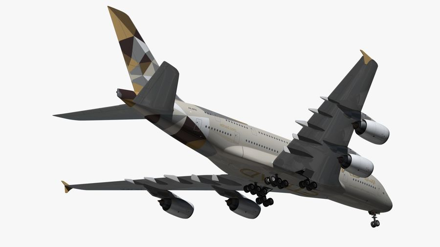 Airbus A380 Etihad royalty-free 3d model - Preview no. 4