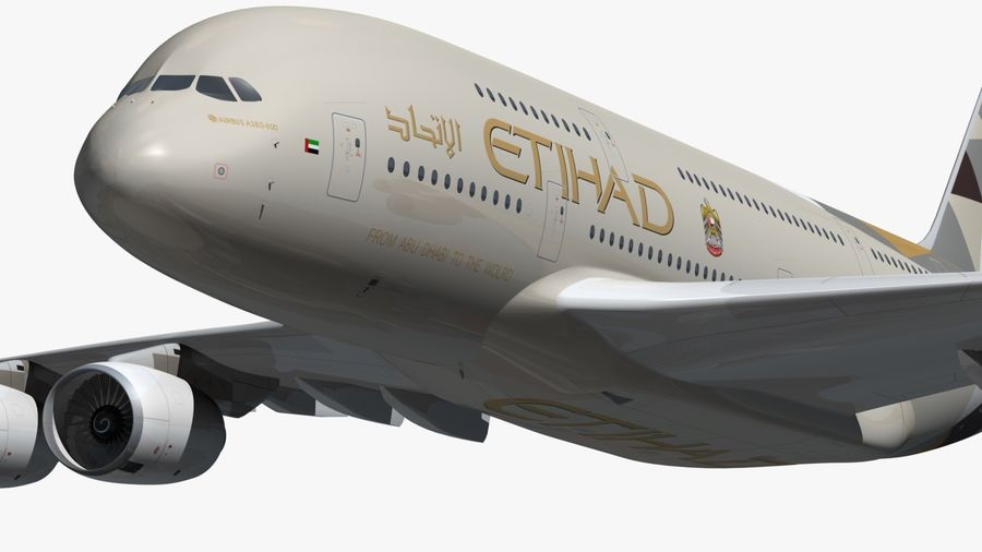 Airbus A380 Etihad royalty-free 3d model - Preview no. 11