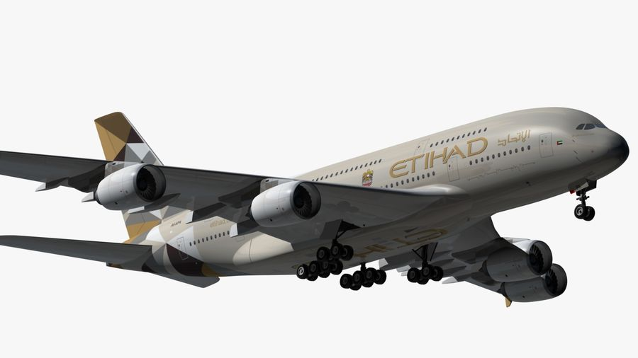 Airbus A380 Etihad royalty-free 3d model - Preview no. 8