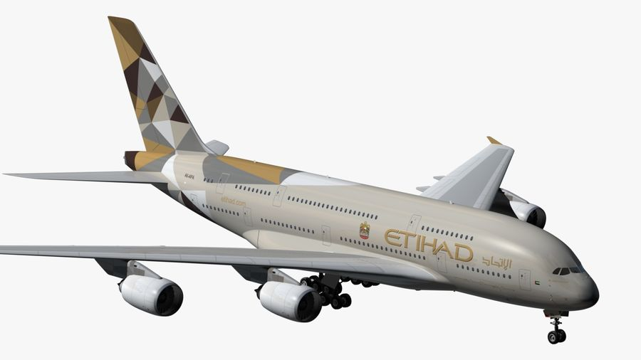 Airbus A380 Etihad royalty-free 3d model - Preview no. 9