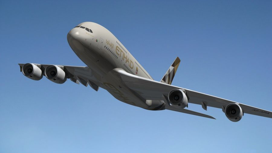 Airbus A380 Etihad royalty-free 3d model - Preview no. 13