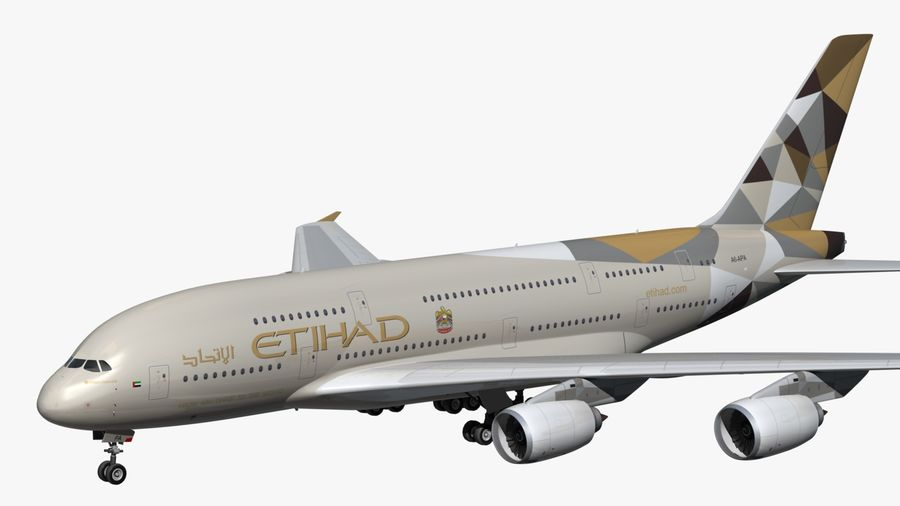 Airbus A380 Etihad royalty-free 3d model - Preview no. 1