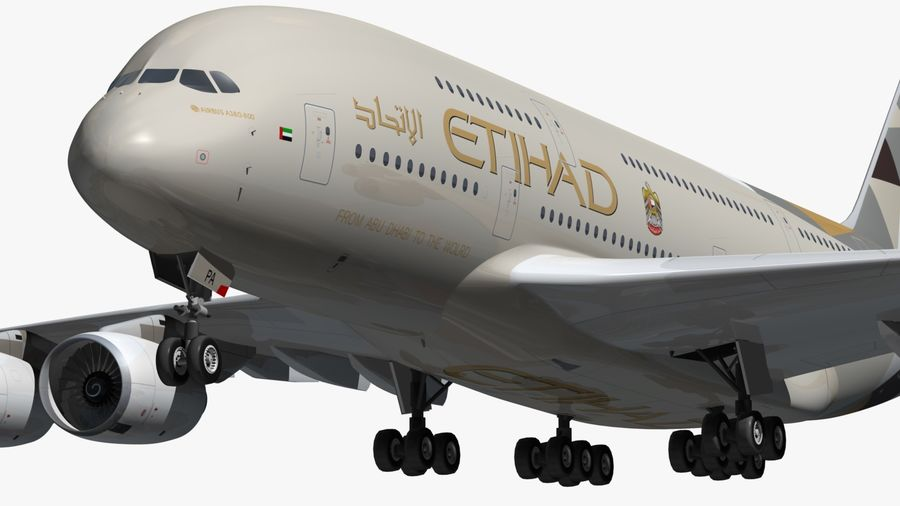 Airbus A380 Etihad royalty-free 3d model - Preview no. 10