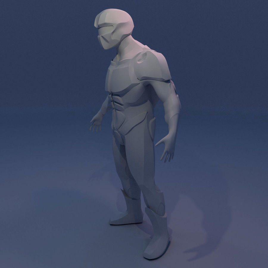 Futuristic soldier mesh royalty-free 3d model - Preview no. 4