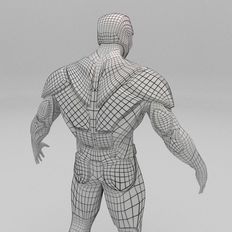 Futuristic soldier mesh royalty-free 3d model - Preview no. 9