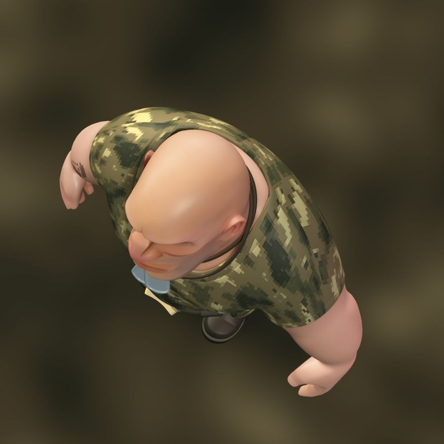 Cartoon Soldier royalty-free 3d model - Preview no. 7
