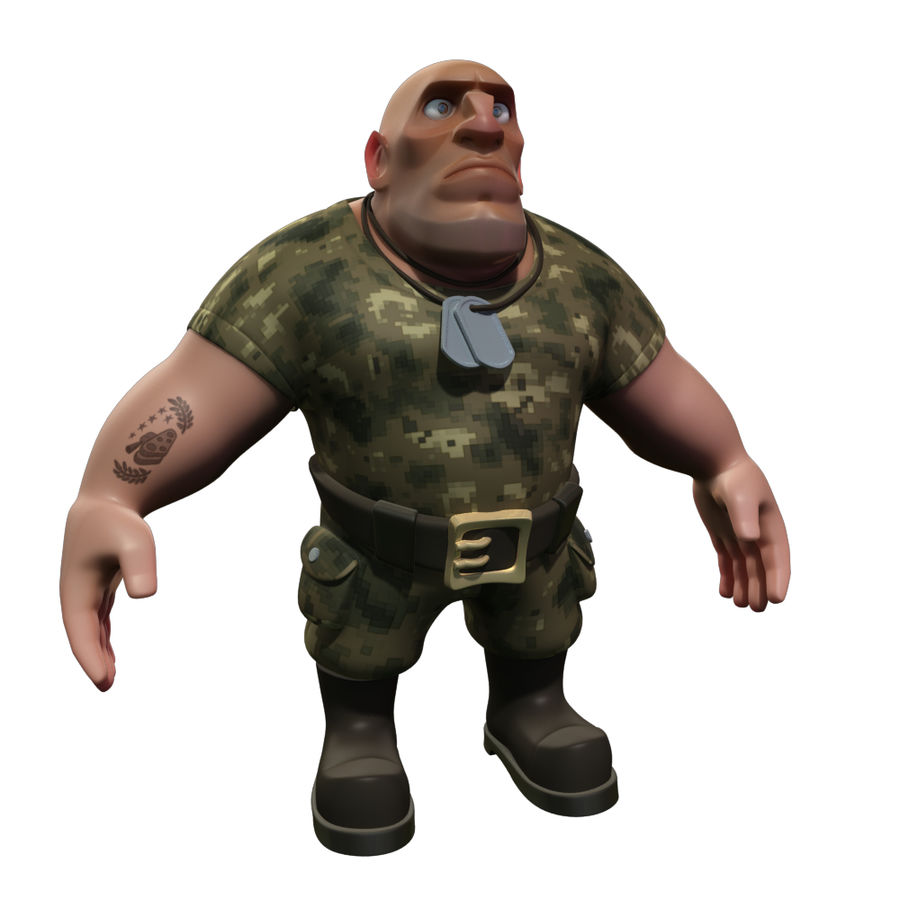 Cartoon Soldier royalty-free 3d model - Preview no. 1