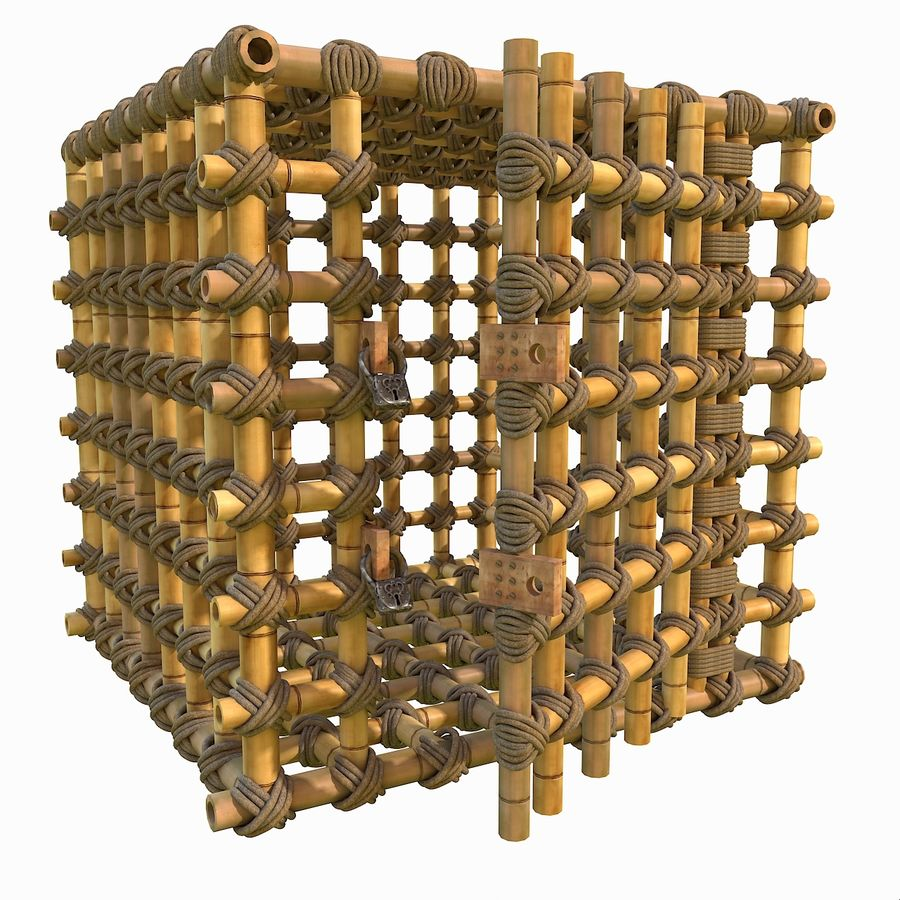 Jungle Bamboo Cage royalty-free 3d model - Preview no. 8