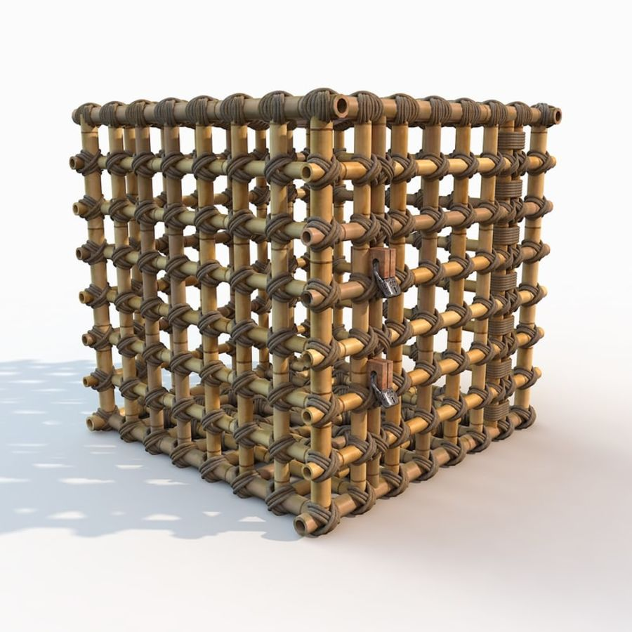 Jungle Bamboo Cage royalty-free 3d model - Preview no. 18