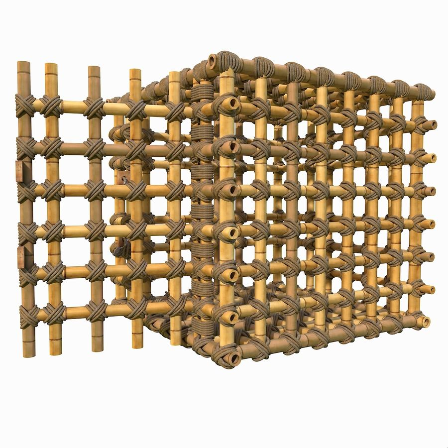 Jungle Bamboo Cage royalty-free 3d model - Preview no. 13