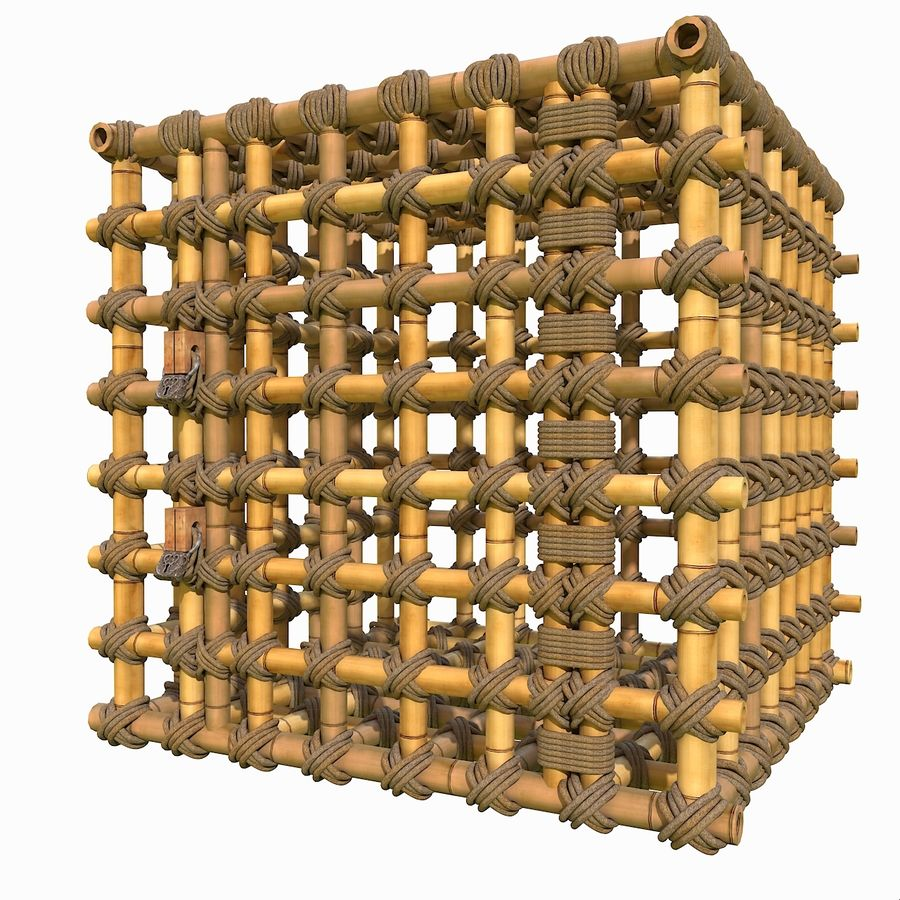 Jungle Bamboo Cage royalty-free 3d model - Preview no. 4