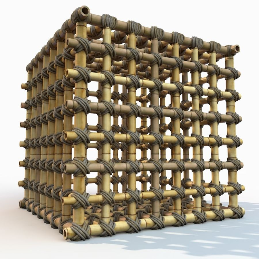 Jungle Bamboo Cage royalty-free 3d model - Preview no. 20