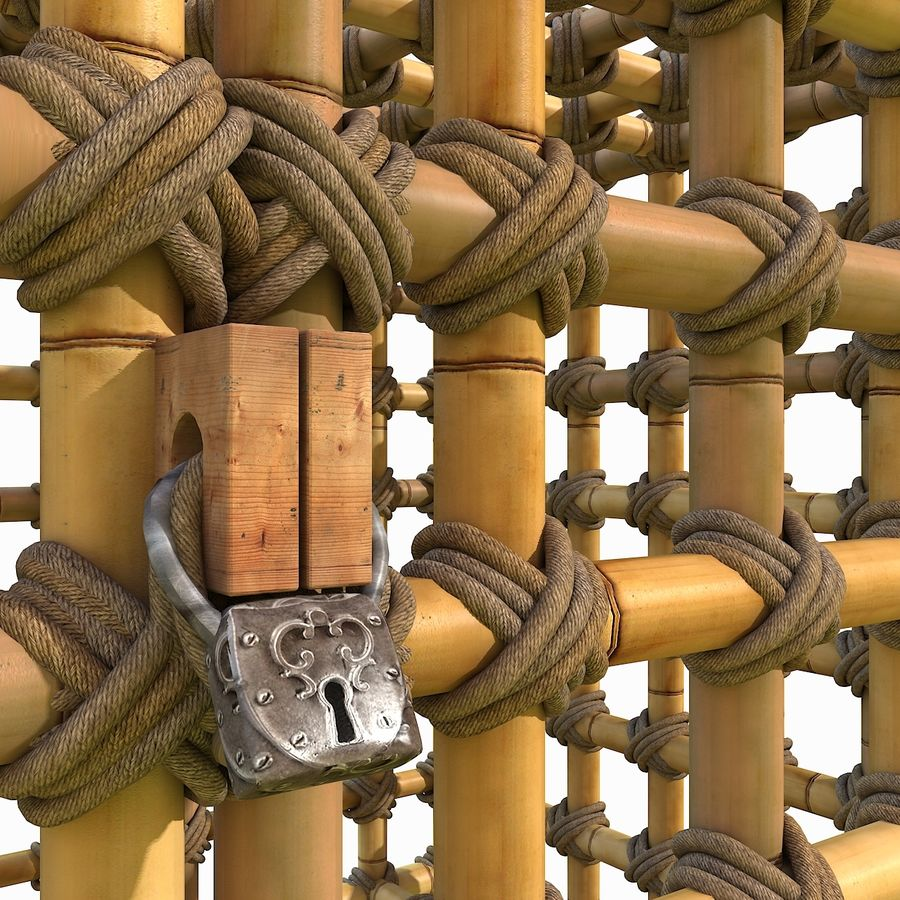 Jungle Bamboo Cage royalty-free 3d model - Preview no. 10