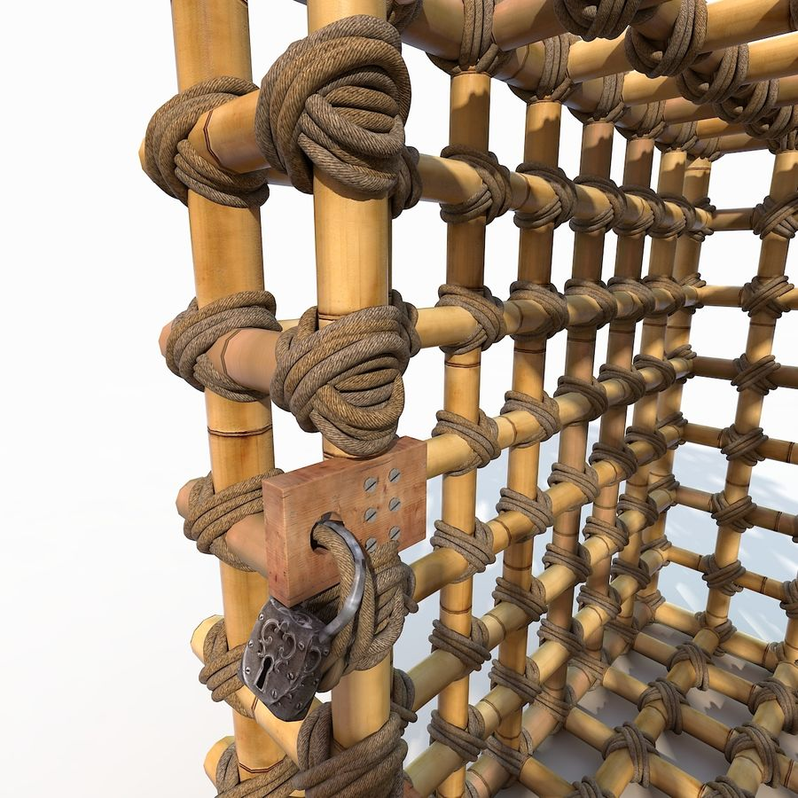 Jungle Bamboo Cage royalty-free 3d model - Preview no. 15