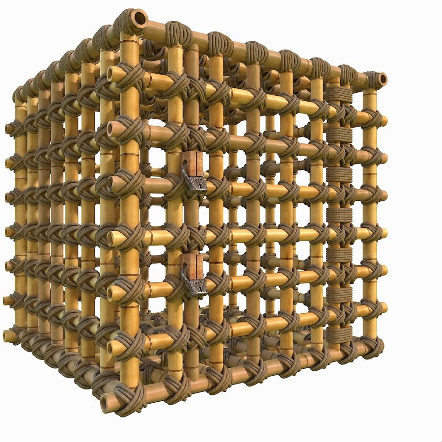 Jungle Bamboo Cage royalty-free 3d model - Preview no. 11