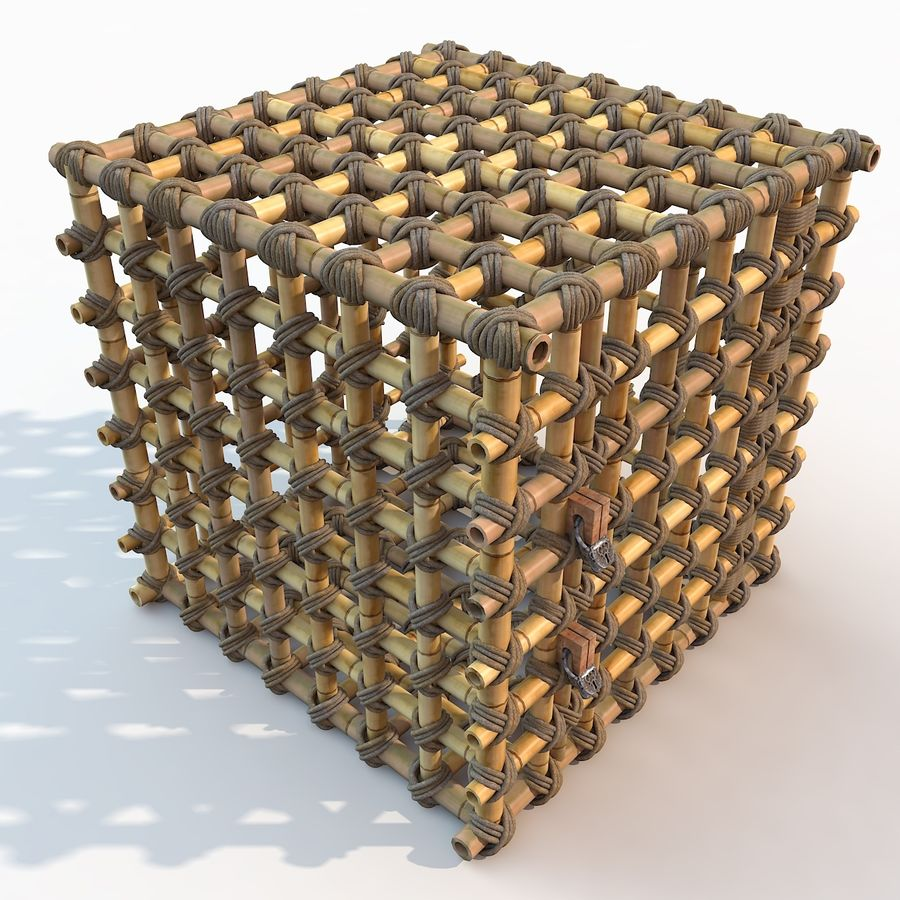 Jungle Bamboo Cage royalty-free 3d model - Preview no. 19