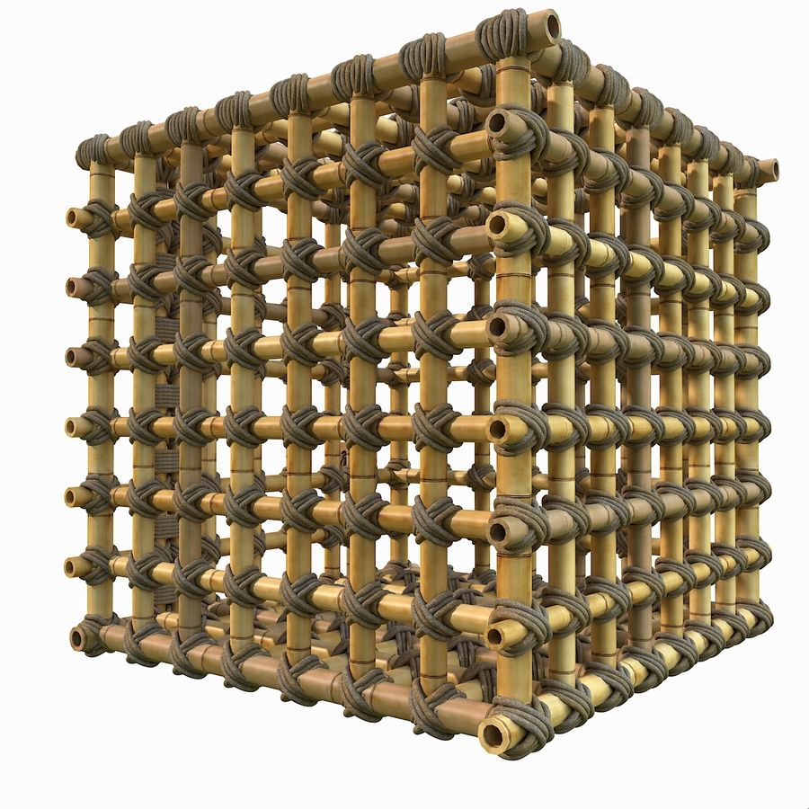 Jungle Bamboo Cage royalty-free 3d model - Preview no. 7