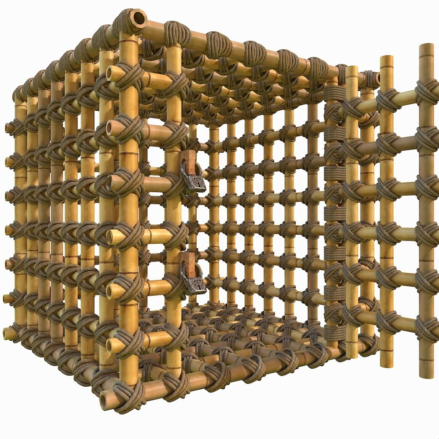 Jungle Bamboo Cage royalty-free 3d model - Preview no. 12