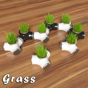 Decorative grass in a pot (2) 3d model