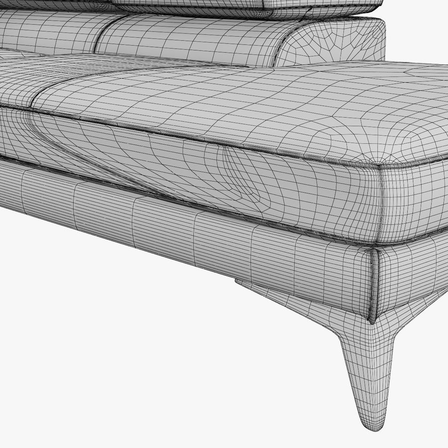 doblado sofá con costuras royalty-free modelo 3d - Preview no. 11