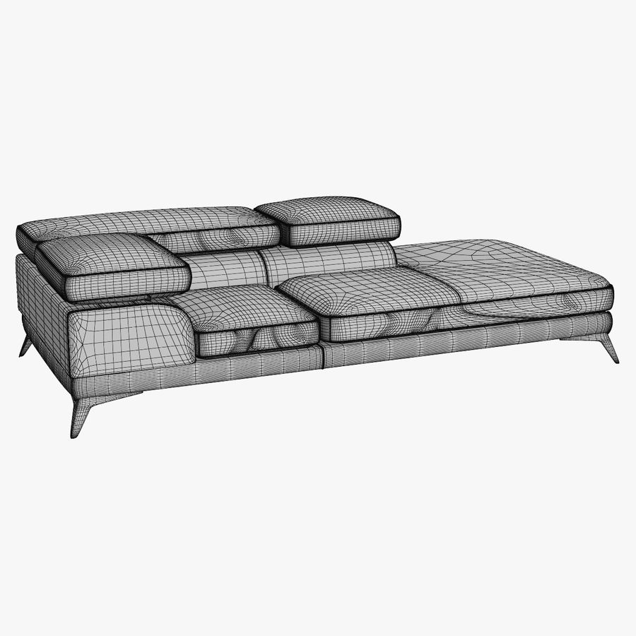 doblado sofá con costuras royalty-free modelo 3d - Preview no. 10