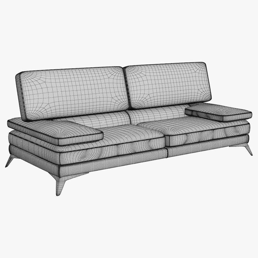 doblado sofá con costuras royalty-free modelo 3d - Preview no. 16