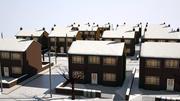 冬の郊外のクリスマスストリート 3d model