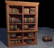 Boekenkast en boeken 3d model