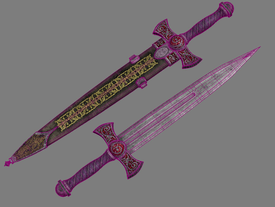 Fantasy Dagger royalty-free 3d model - Preview no. 6