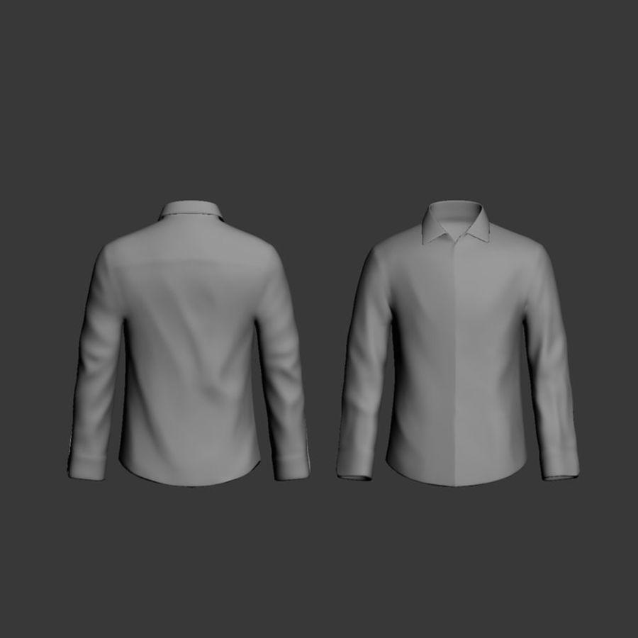 camicia blu scuro royalty-free 3d model - Preview no. 7