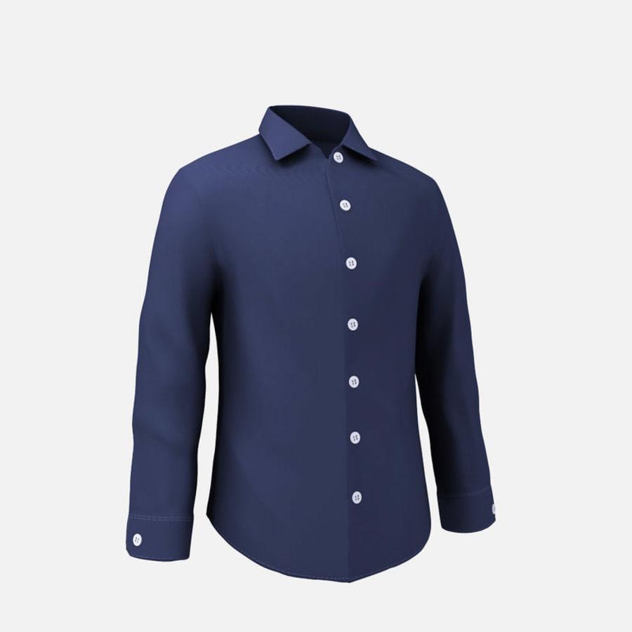 camicia blu scuro royalty-free 3d model - Preview no. 6