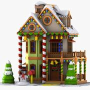 Cartoon House Winter 2 3d model