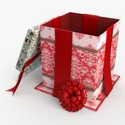 Christmas BOX wełna z otwartymi taśmami 3d model