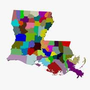 县地图-路易斯安那州 3d model